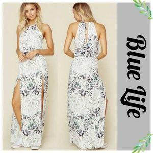 Blue Life Printed 2 Slit Halter Maxi Dress